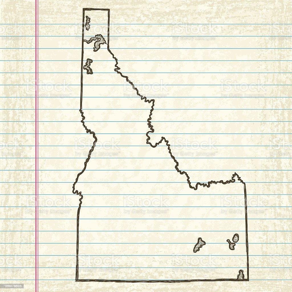 Hand-Drawn Map of Idaho vector art illustration