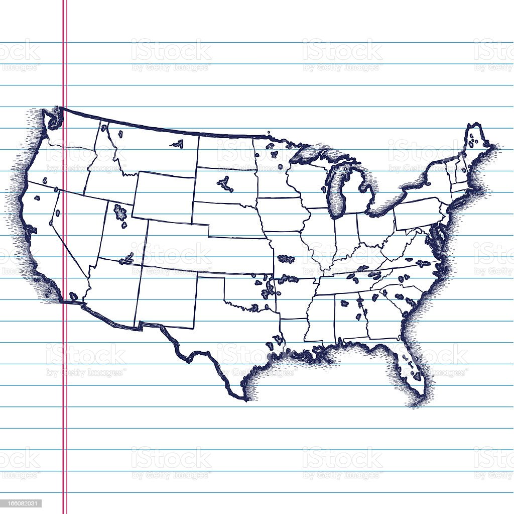 Handdrawn Map Of The Usa Stock Vector Art IStock - Hand drawn us map vector