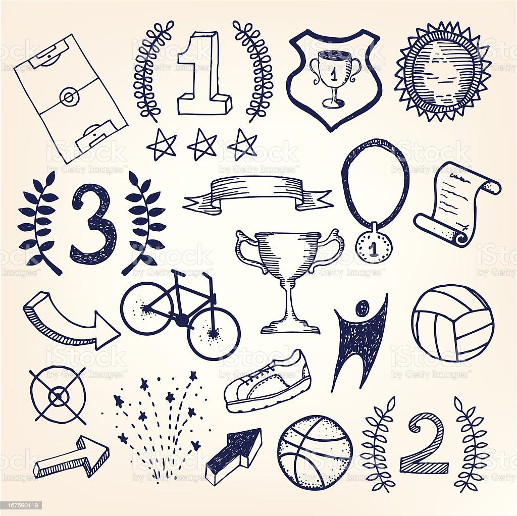 Hand-drawn sketchy doodle sports illustration royalty-free stock vector art