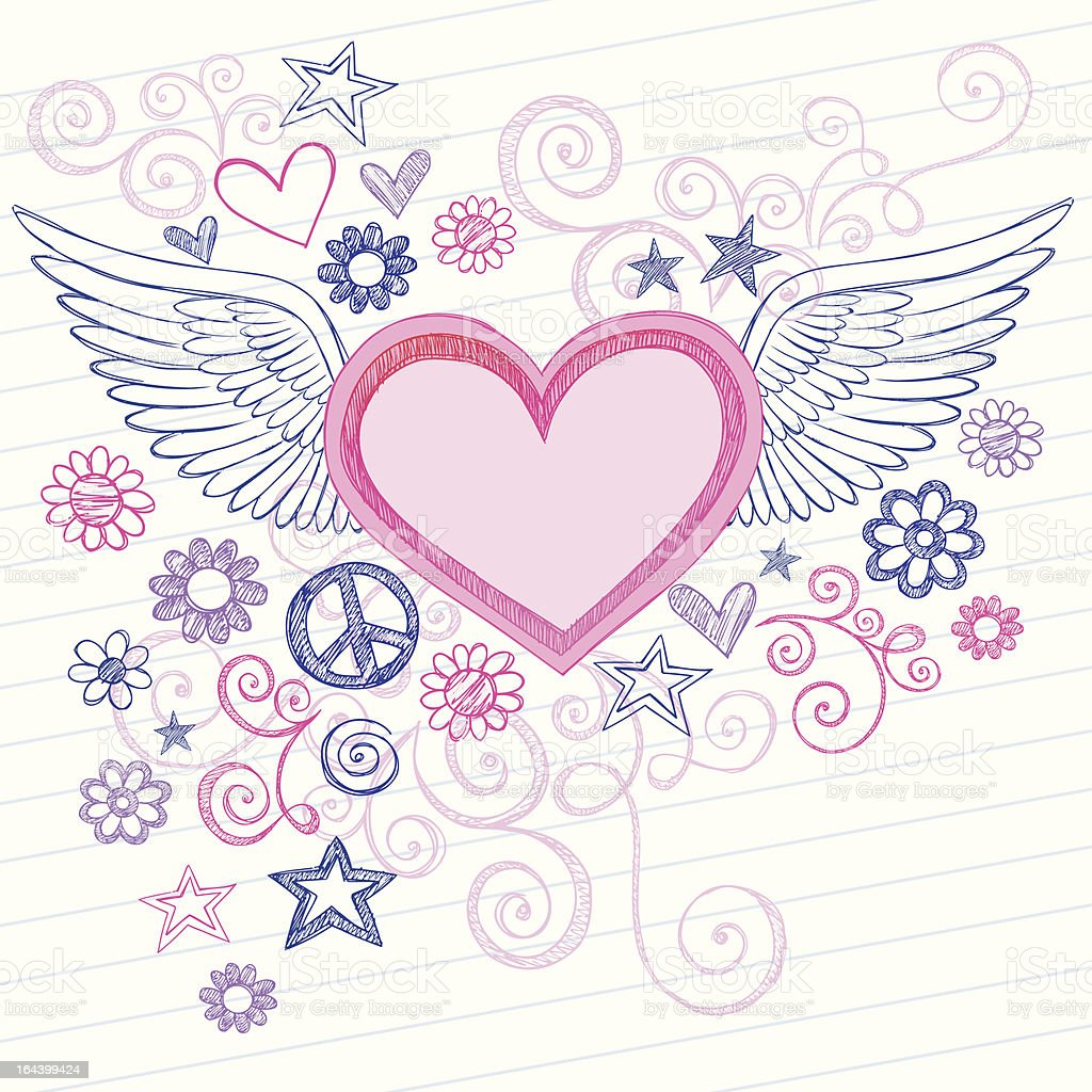 Hand-Drawn Sketchy Heart with Wings Doodles royalty-free stock vector art