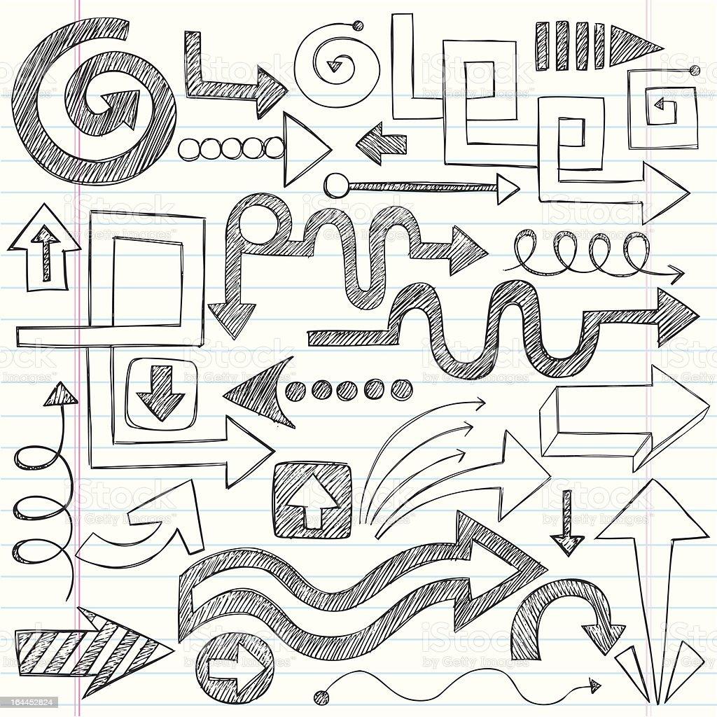 Hand-Drawn Sketchy Notebook Doodle Arrow Set royalty-free stock vector art