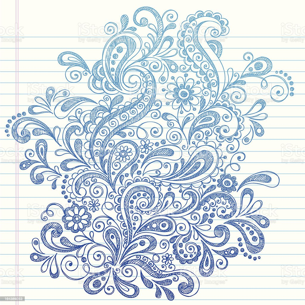 Hand-Drawn Sketchy Paisley and Swirls Doodle royalty-free stock vector art