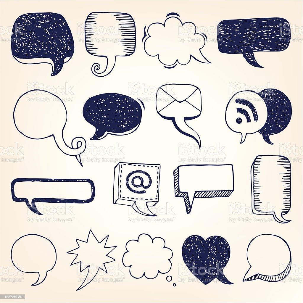 Hand-drawn speech bubble illustration royalty-free stock vector art