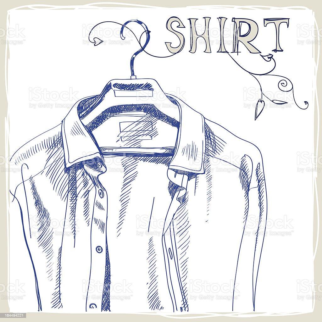 Hand-drawn white men's shirt royalty-free stock vector art