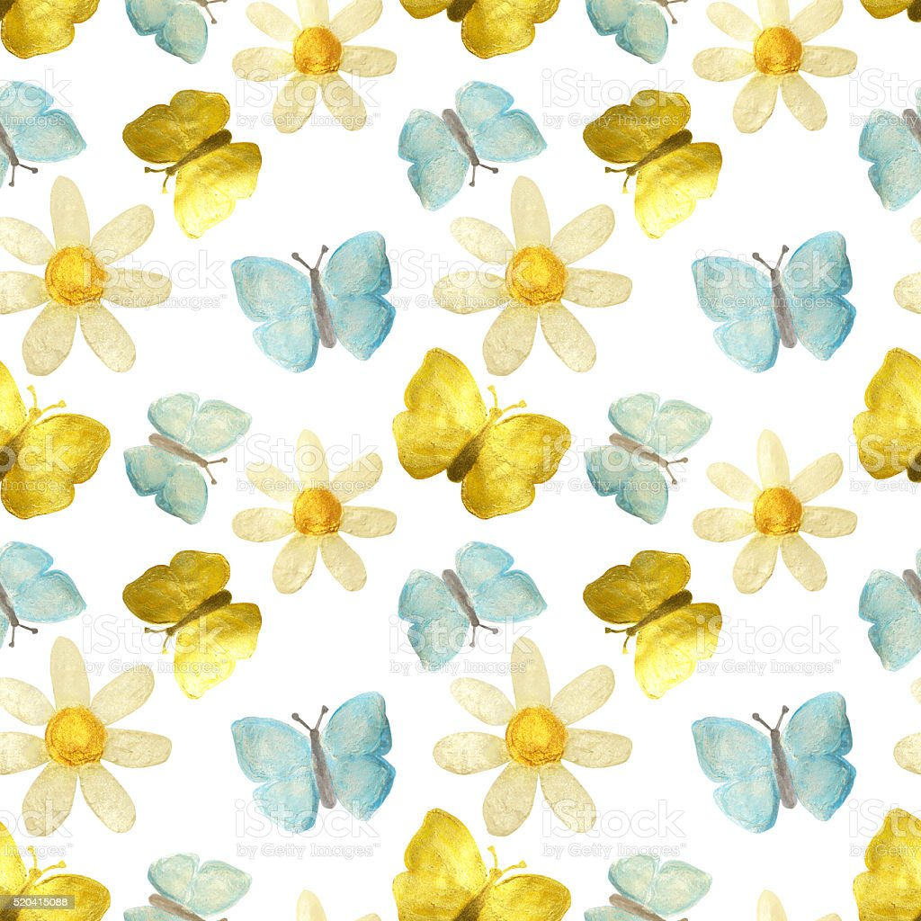 Hand-drawn with paints pearly chamomile, golden and blue butterflies stock photo