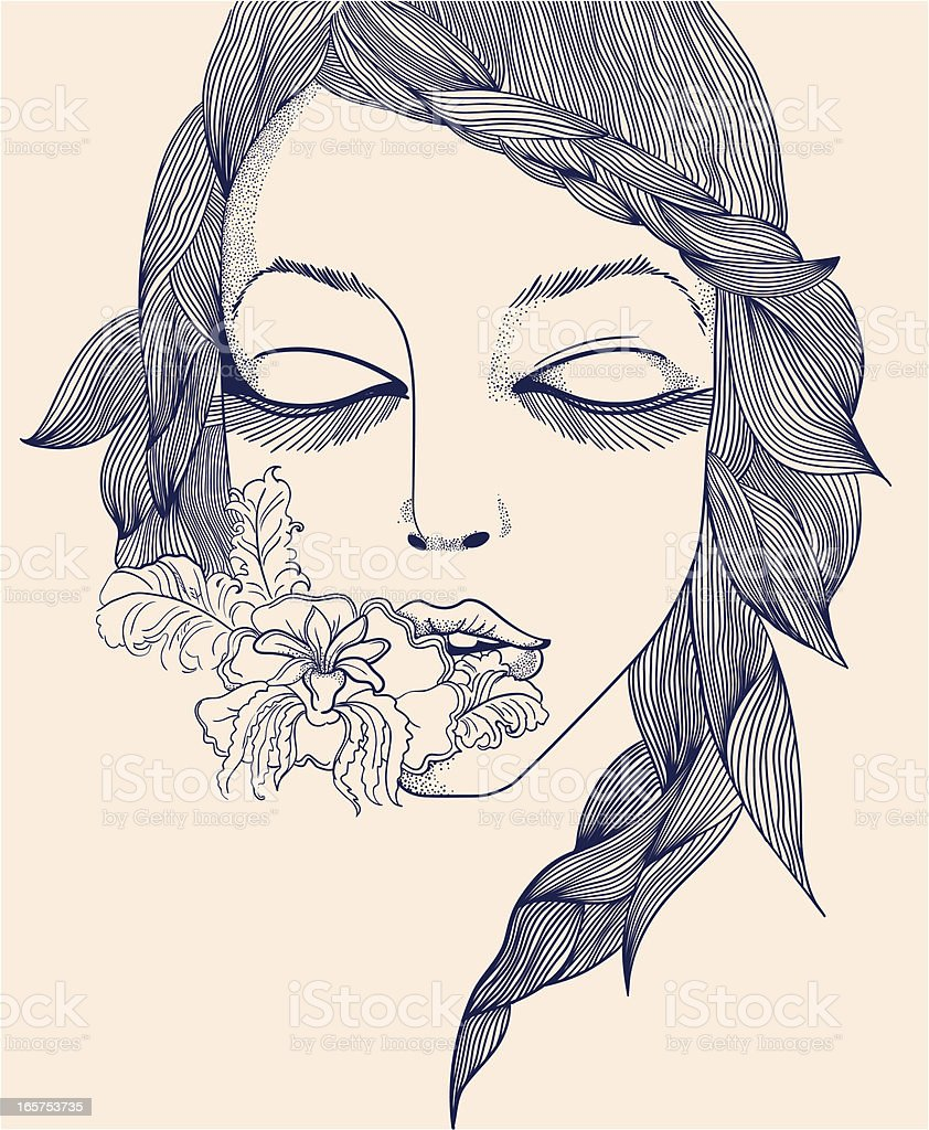 Hand-drawn woman face vector art illustration