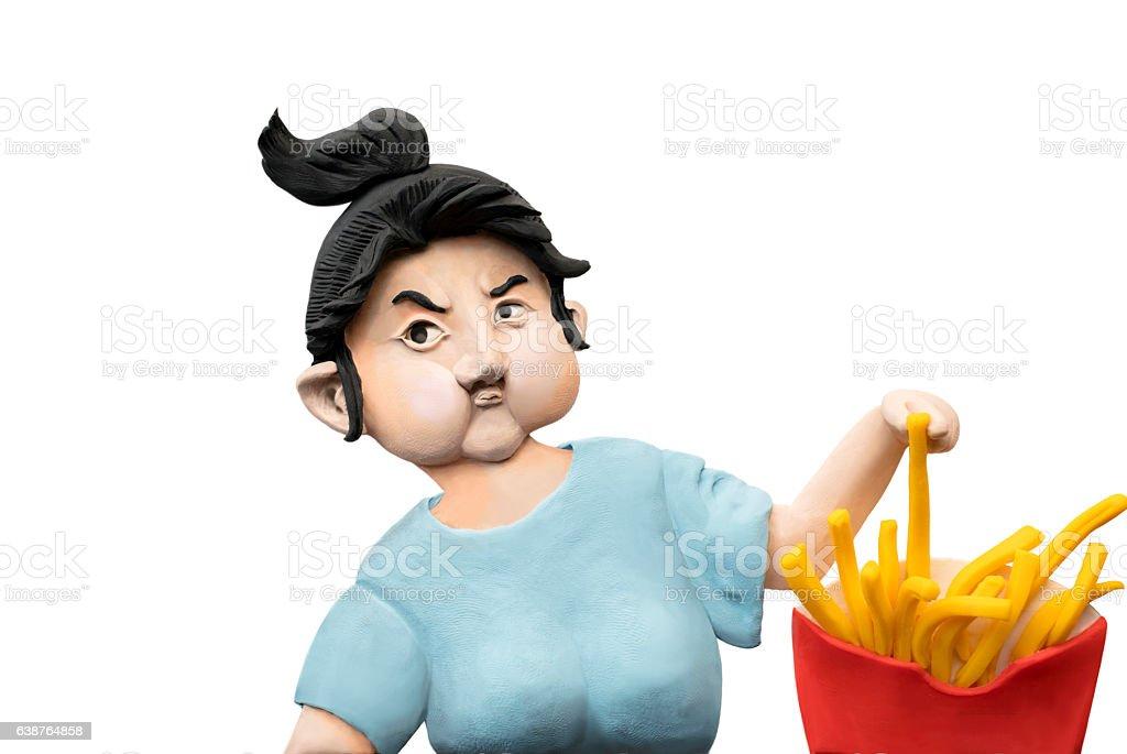 handmade clay figurine: girl eating potato chips vector art illustration