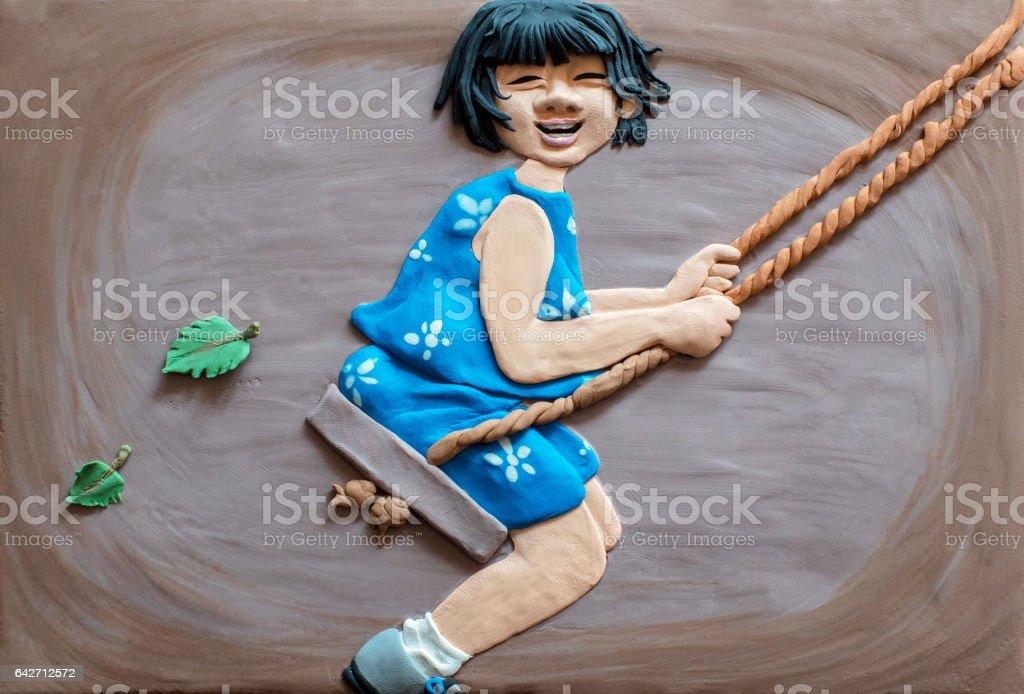 handmade clay illustration: girl sitting on swing vector art illustration