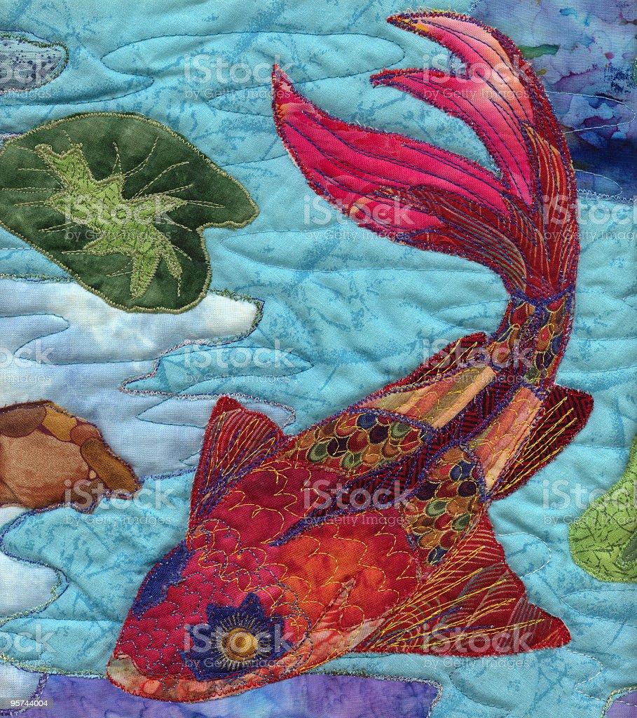 Handmade Quilted Koi Fish Artwork Photograph royalty-free stock vector art