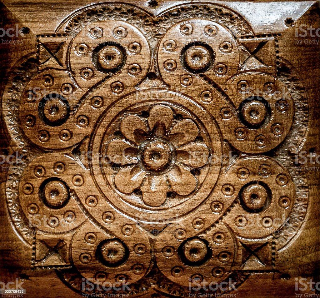Handmade.Woodcarving vector art illustration