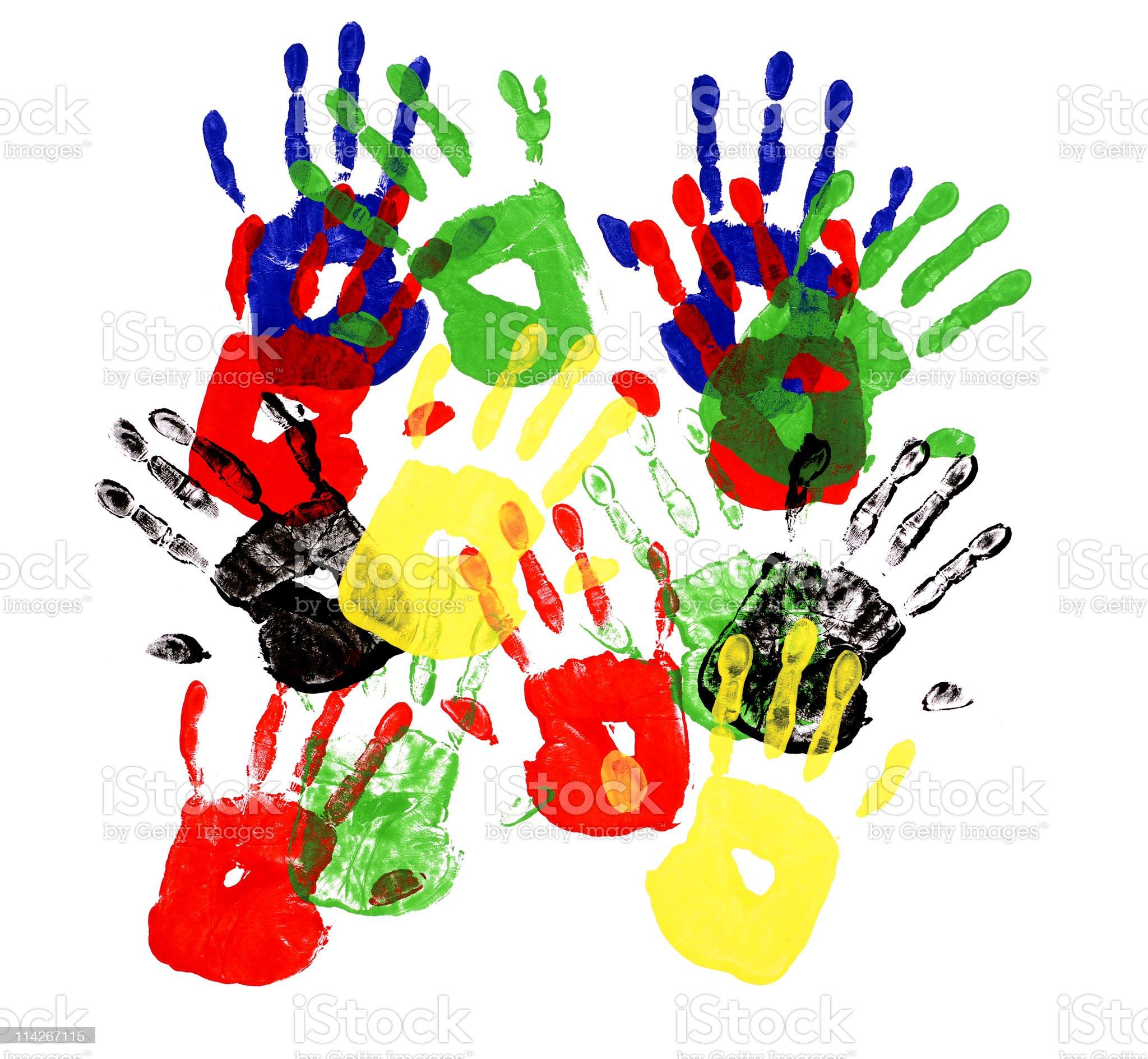 Handprints multicolor royalty-free stock vector art