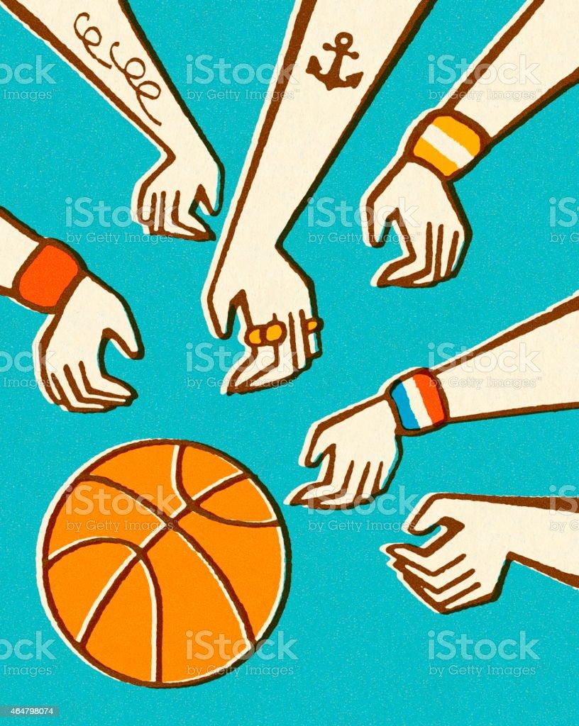 Hands and Basketball vector art illustration