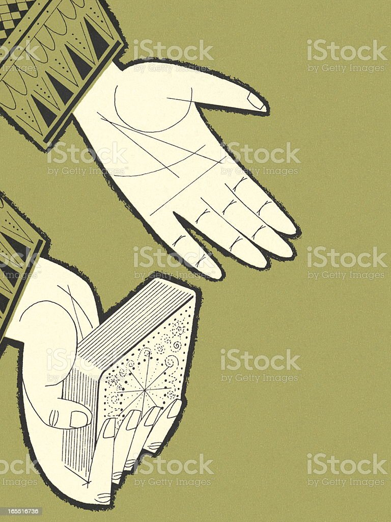 Hands and Deck of Cards vector art illustration