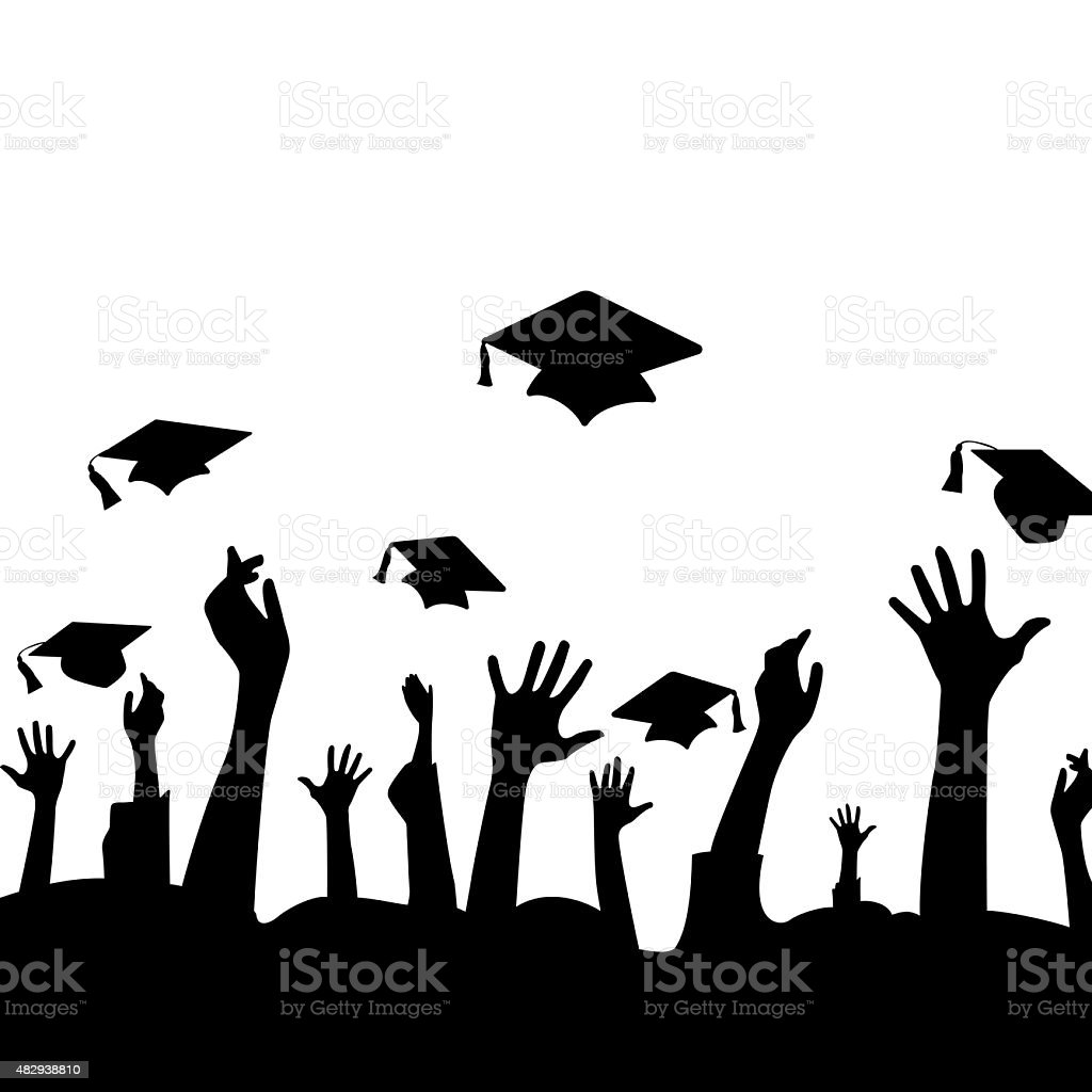 Hands and graduation hats vector art illustration