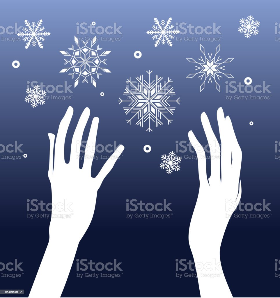 Hands and Snow royalty-free stock vector art