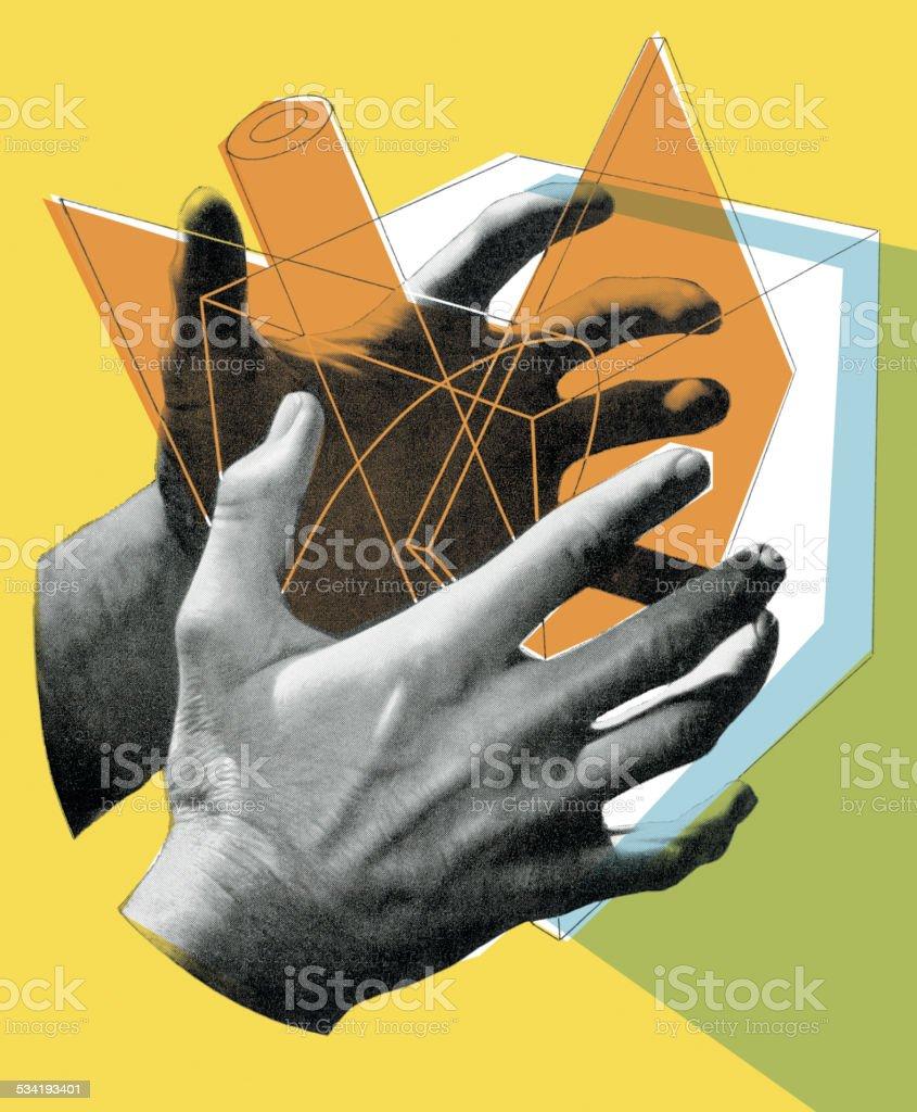 Hands Holding Geometric Shapes vector art illustration