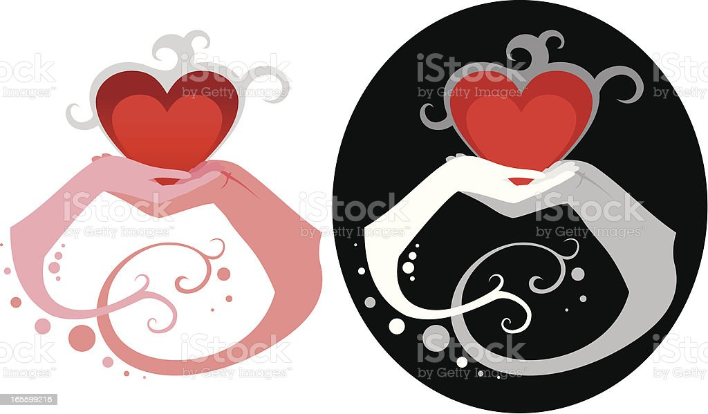 Hands holding hearts royalty-free stock vector art