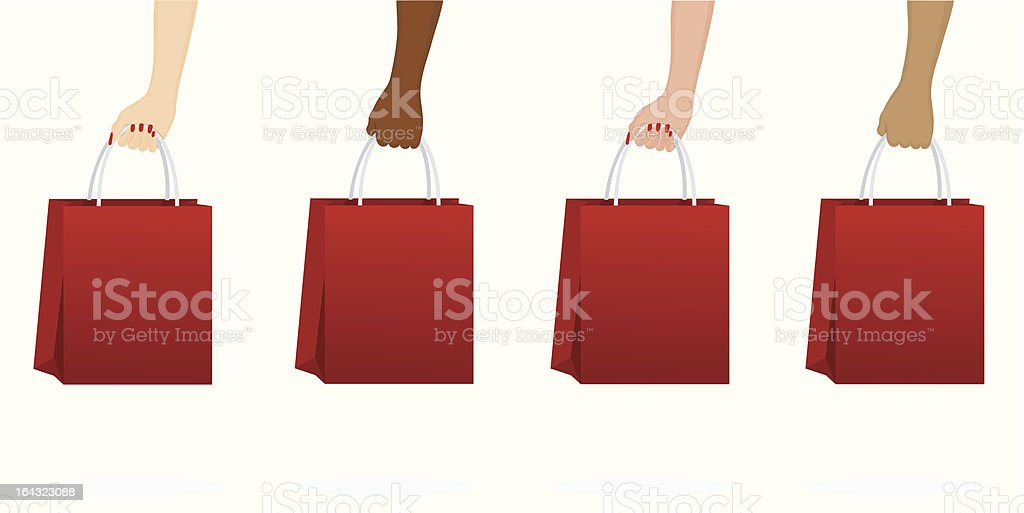 Hands Holding Sale Shopping bags royalty-free stock vector art