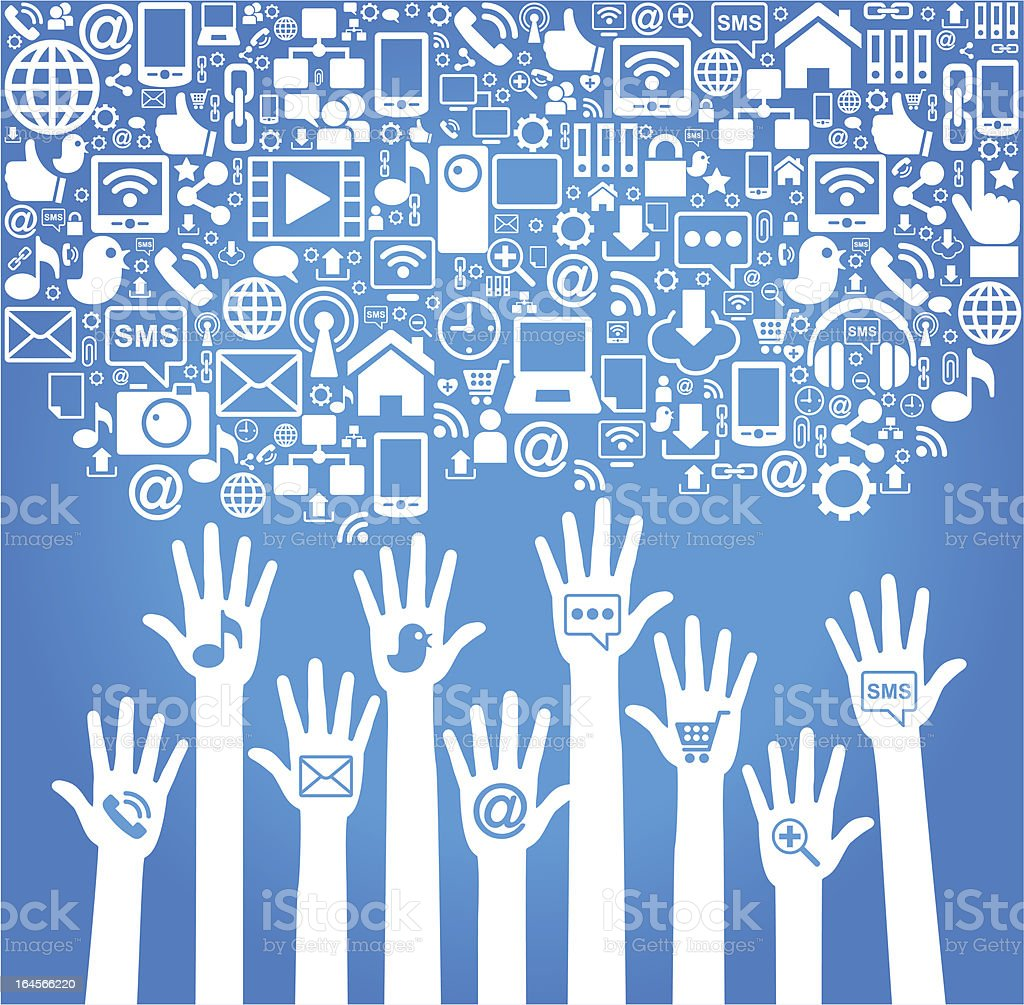 hands of the people with social media icons royalty-free stock vector art
