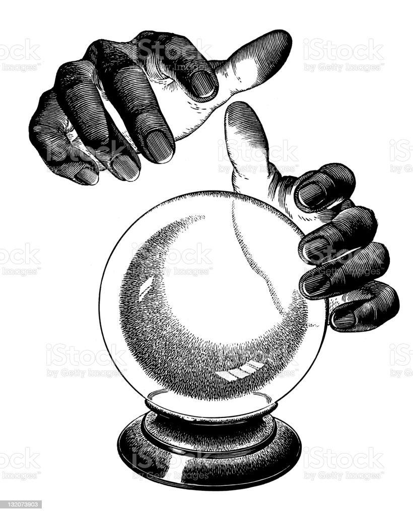 Hands Over crystal ball vector art illustration