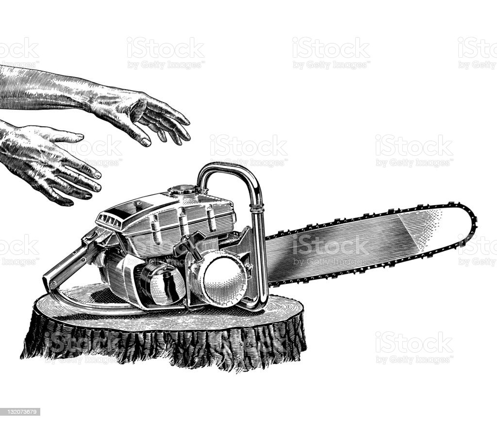 Hands Reaching for chainsaw vector art illustration