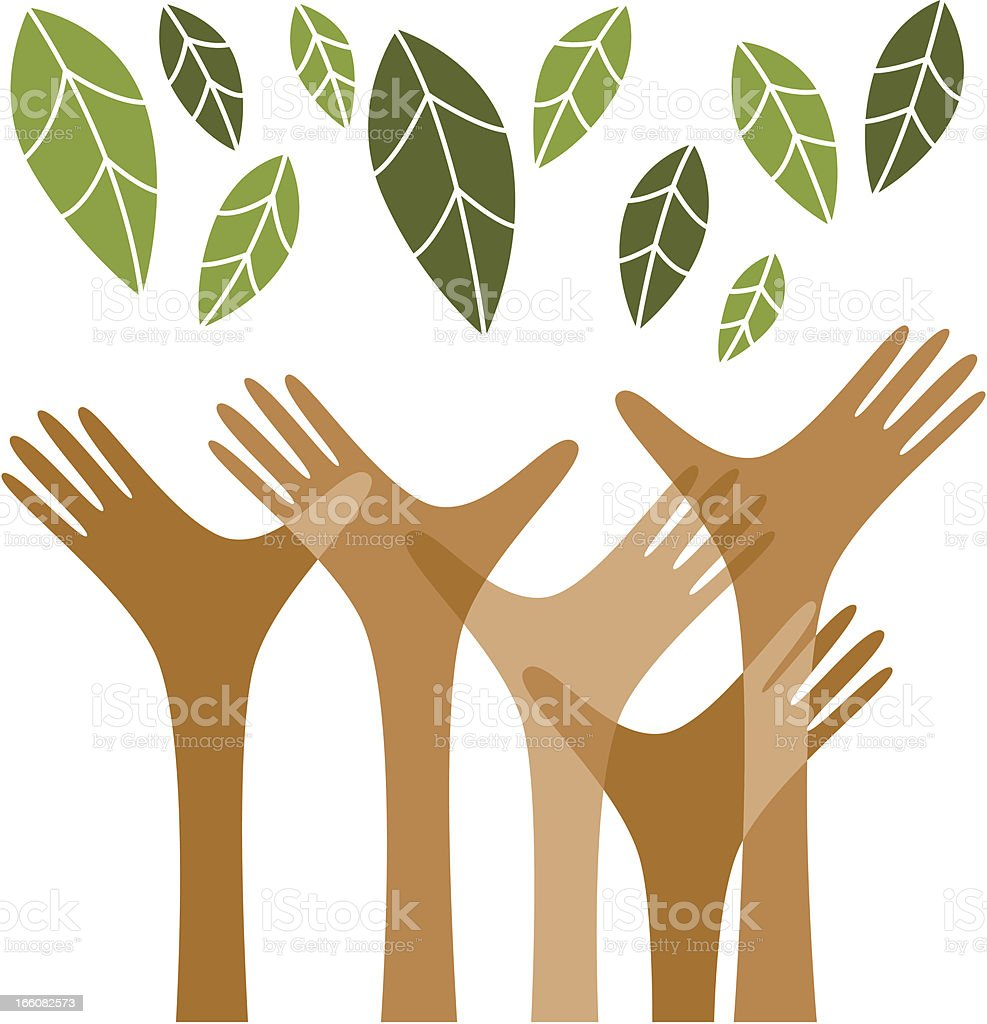 Hands reaching out for the green royalty-free stock vector art