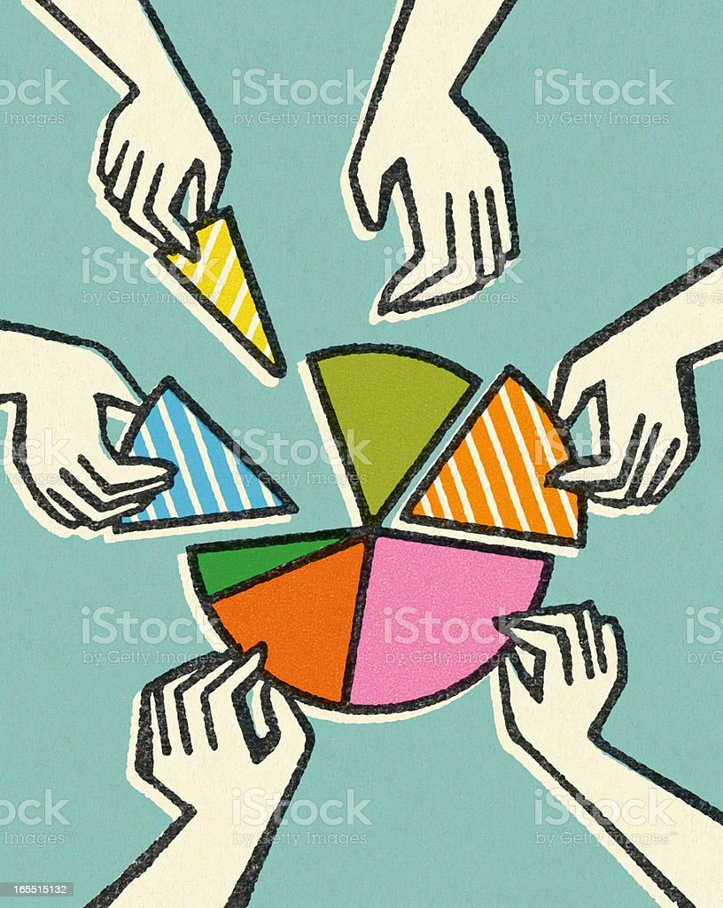 Hands Taking Pieces of a Pie Chart royalty-free stock vector art
