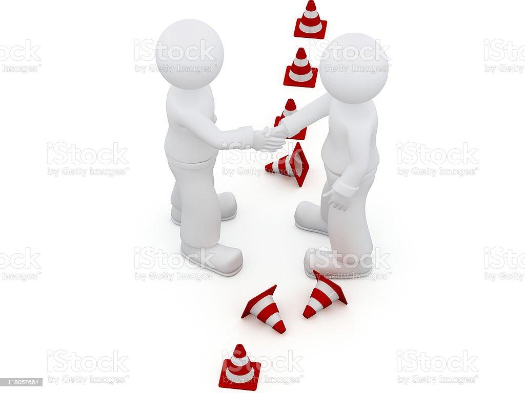 Handshake break the border. royalty-free stock vector art