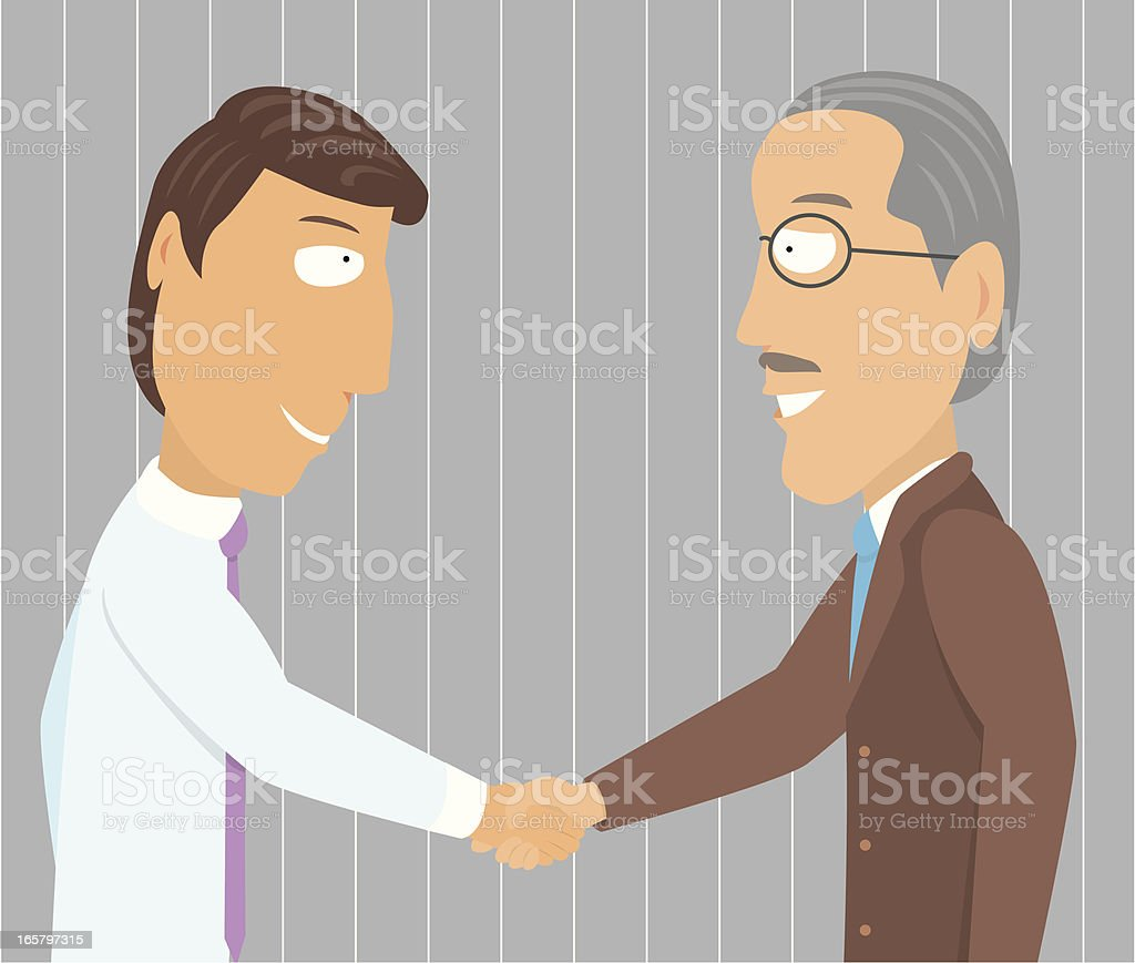 Handshake young and old businessman vector art illustration