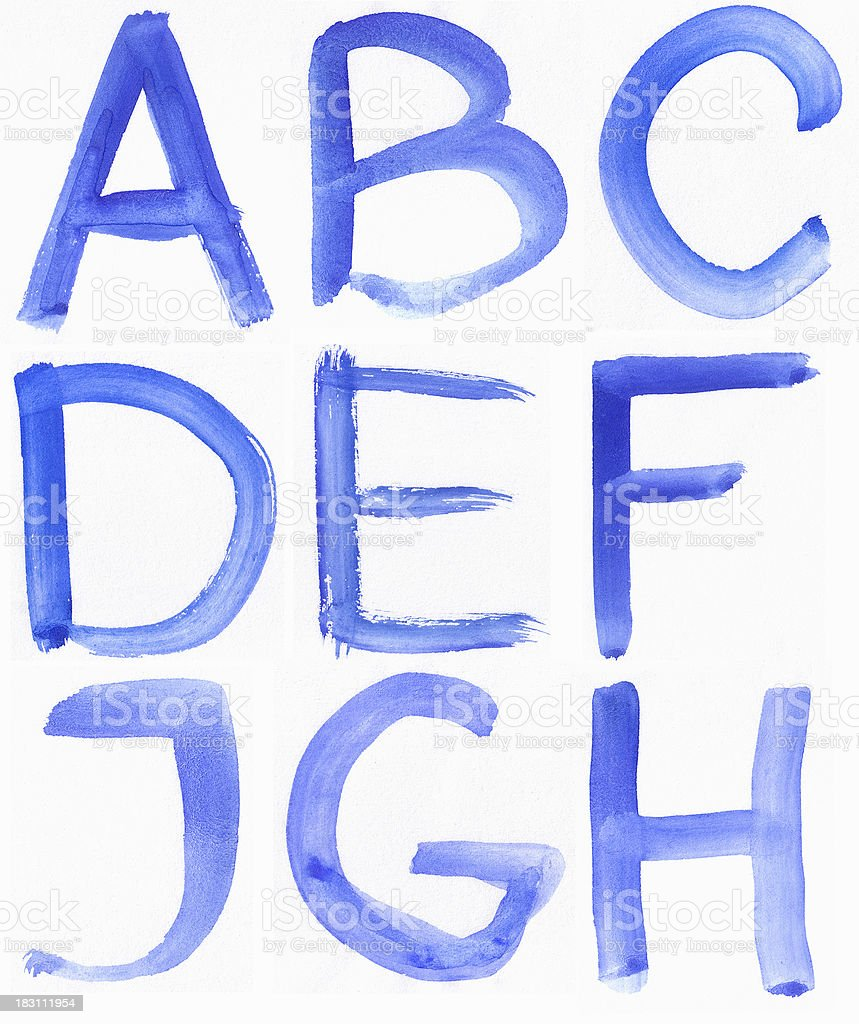Handwritten Blue Watercolor ABC Alphabet royalty-free stock vector art