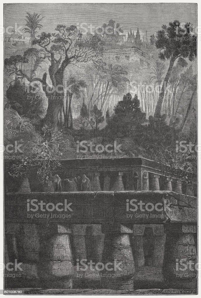 Hanging Gardens of Babylon, wonder of the ancient world vector art illustration