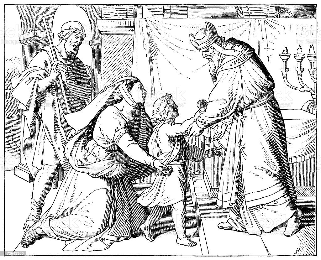 Hannah presenting Samuel to Eli (Victorian engraving) vector art illustration