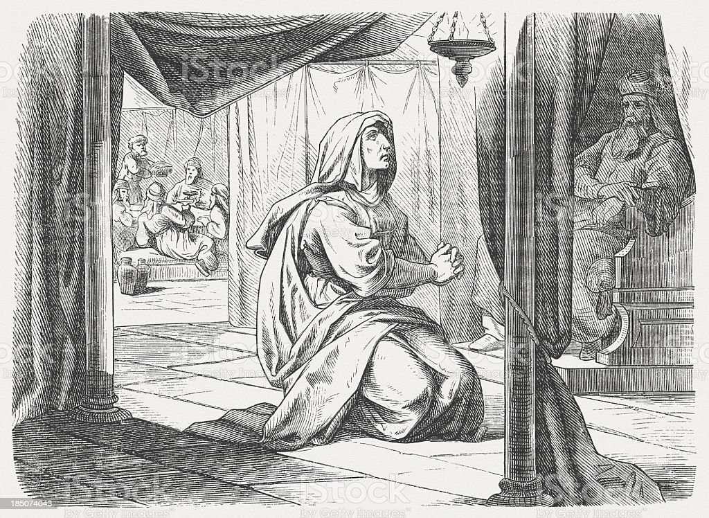 Hannah (1 Samuel 1, 9-11), wood engraving, published in 1877 royalty-free stock vector art