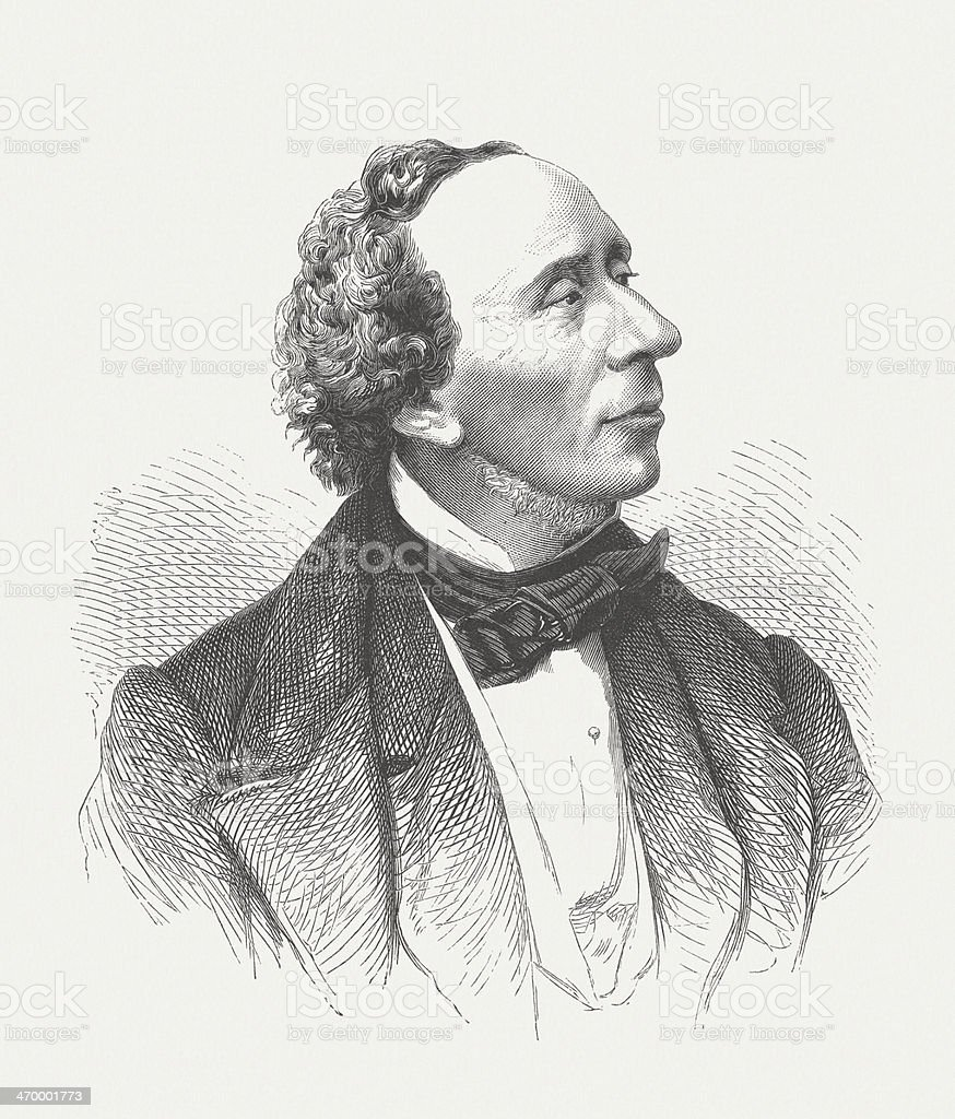 Hans Christian Andersen (1805-1875), Danish writer, wood engraving, published 1879 royalty-free stock vector art