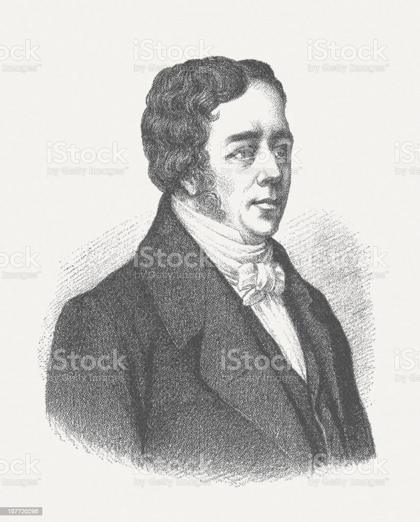 Hans Christian Ørsted (1777-1851), wood engraving, published in 1882 royalty-free stock vector art