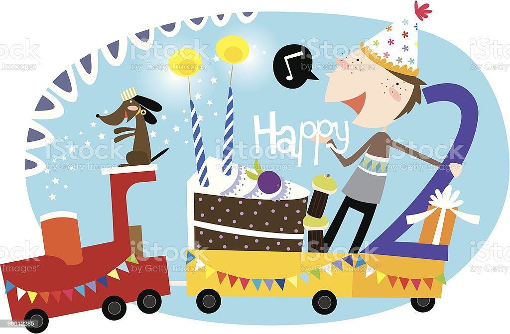 happy 2nd birthday, boy! vector art illustration
