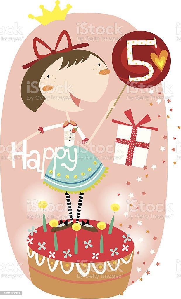 happy 5th birthday, girl! royalty-free stock vector art