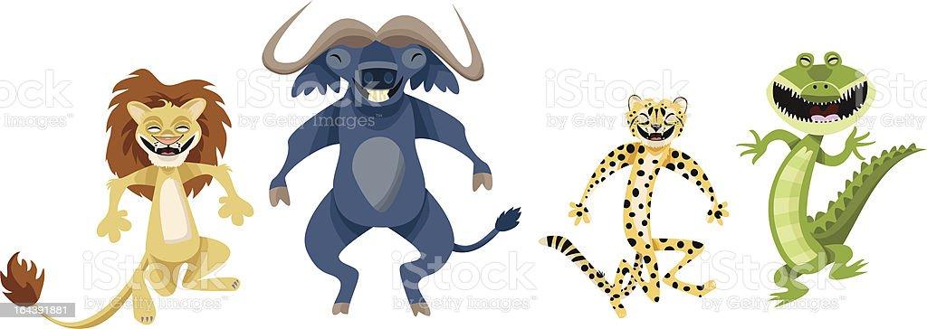 Happy African Animals royalty-free stock vector art