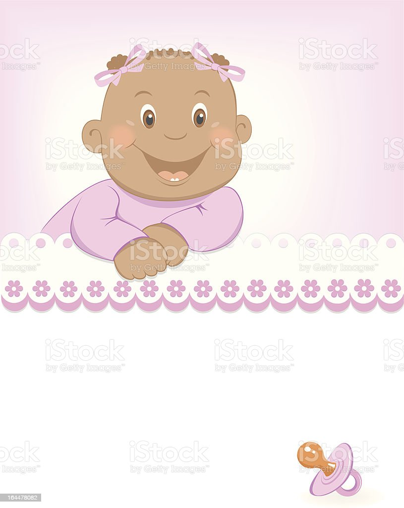 Happy African girl arrival announcement royalty-free stock vector art