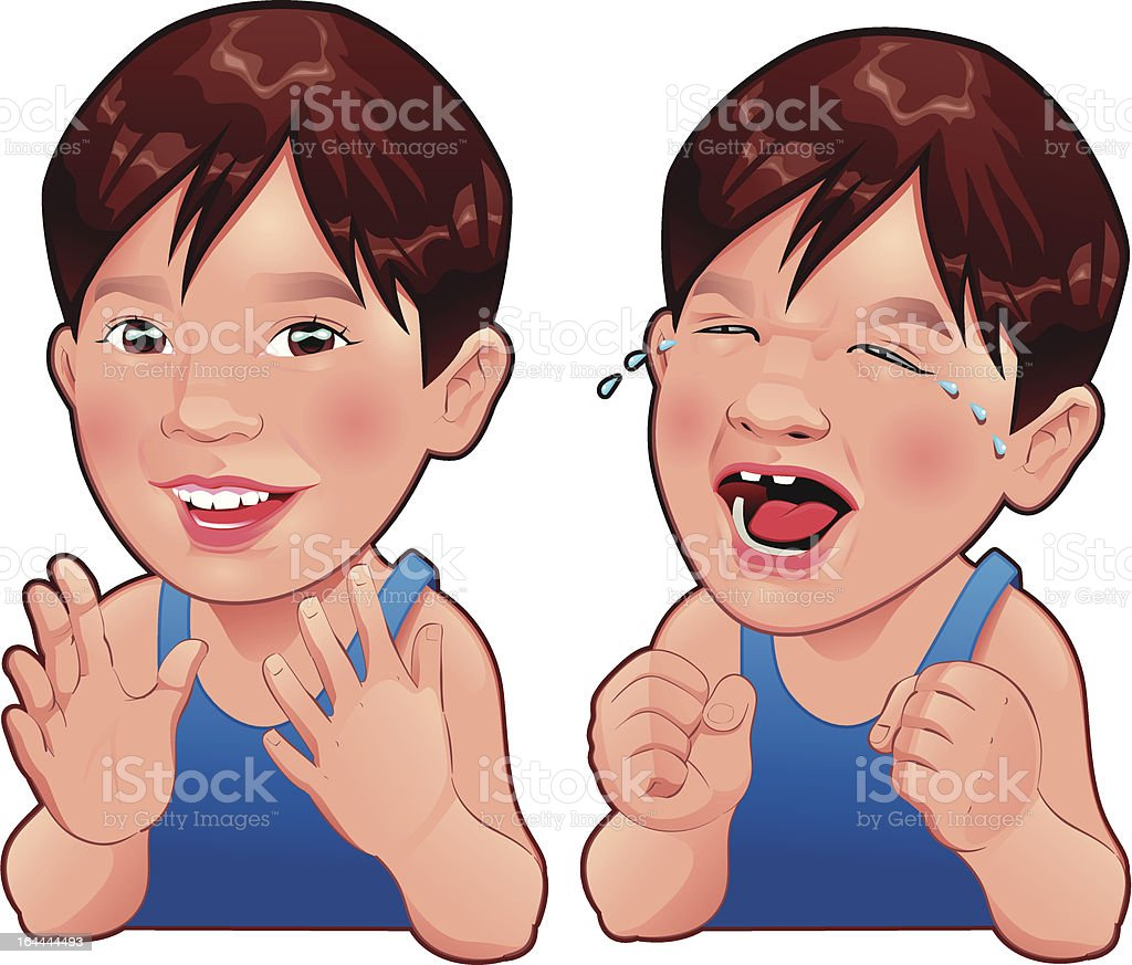 Happy and Sad boy. vector art illustration
