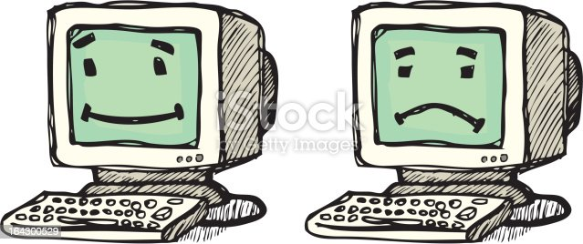 Happy And Sad Computers stock vector art 164300529 | iStock