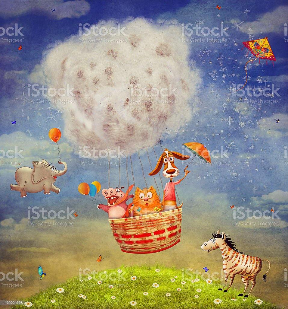 Happy animals in the   air balloon in the sky vector art illustration