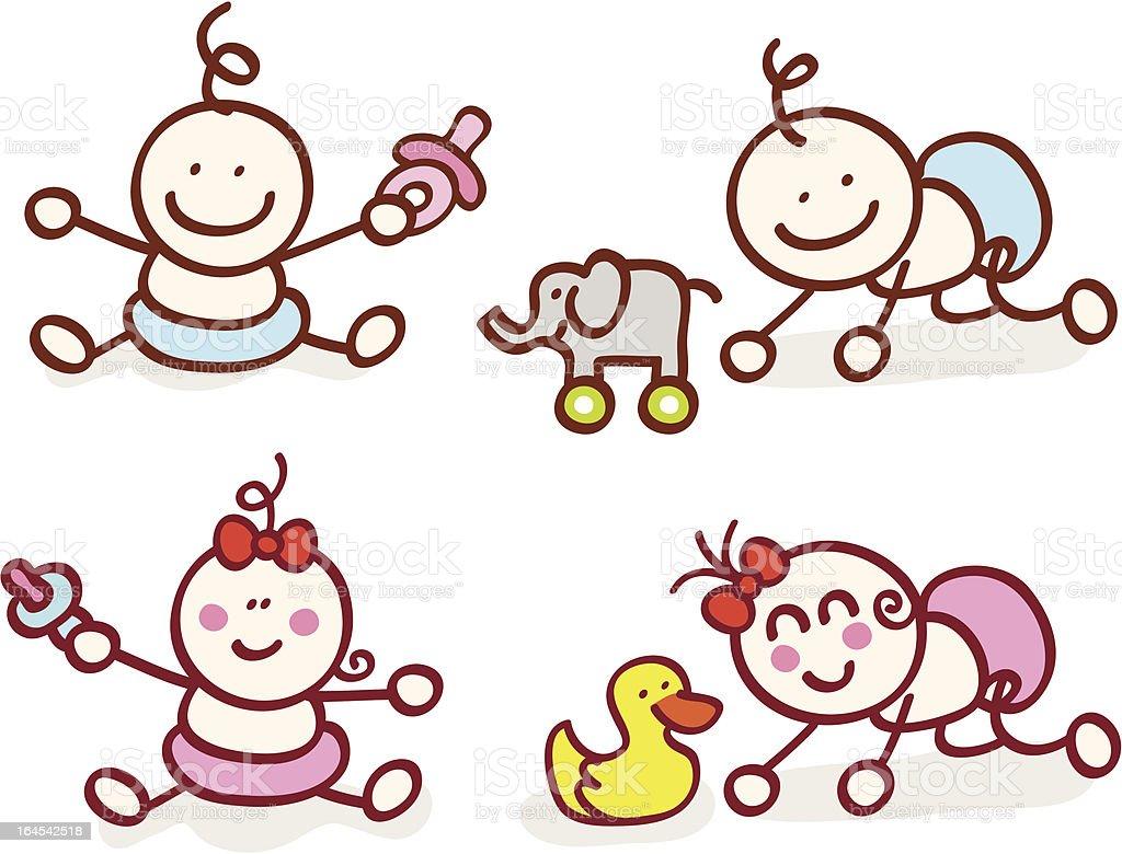 happy baby girl and boy cartoon illustration royalty-free stock vector art