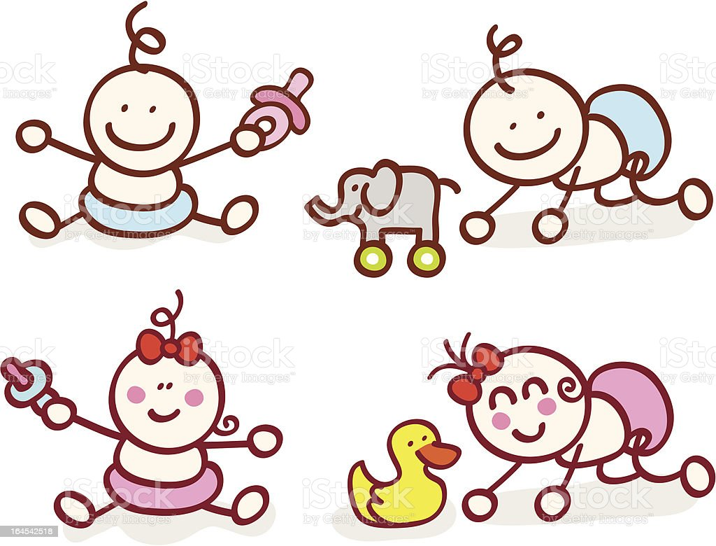 happy baby girl and boy cartoon illustration vector art illustration