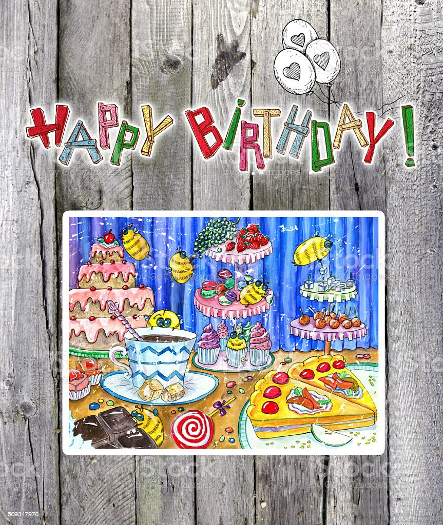 Happy birthday card with funny drawing vector art illustration