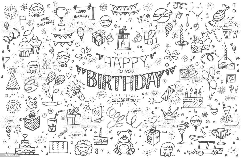 Happy birthday hand drawn abstract vector art illustration
