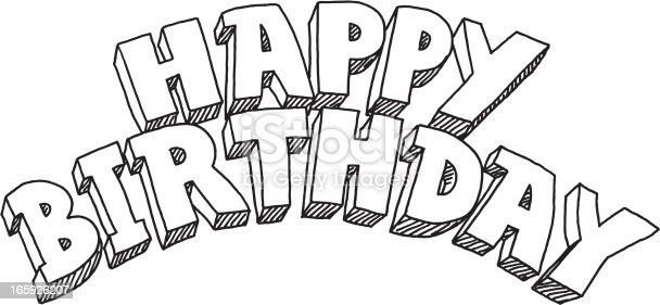Happy Birthday Lettering Drawing stock vector art
