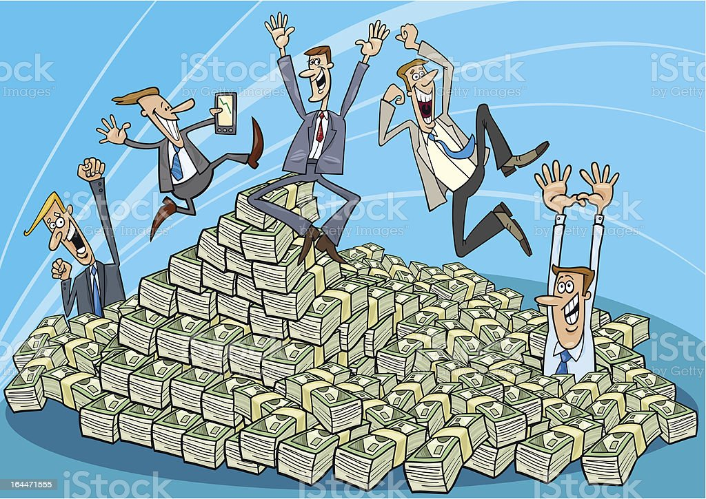 Happy businessmen and heap of money royalty-free stock vector art