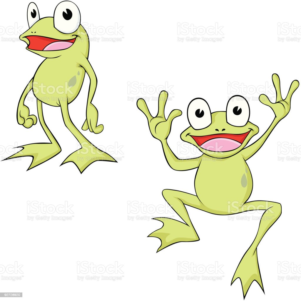 Happy Cartoon Frogs royalty-free stock vector art