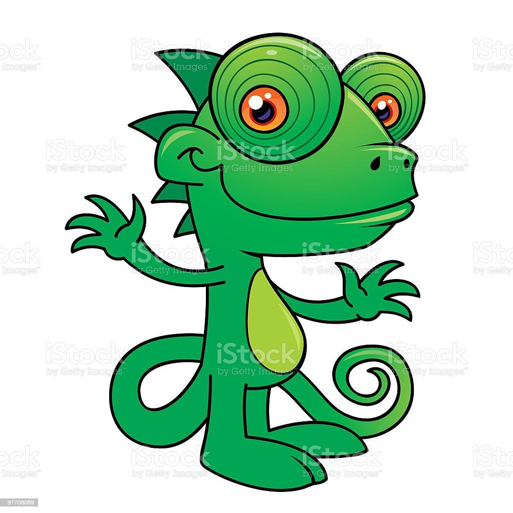 Happy Chameleon vector art illustration